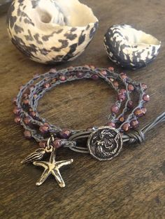 Mermaid & Starfish Multi Wrap Crochet Leather by TwoSilverSisters