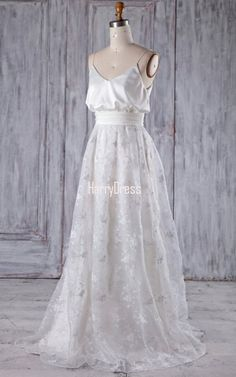 White A Line V Neck Lace Sweep Train Sashes Ribbons Bridesmaid Dress