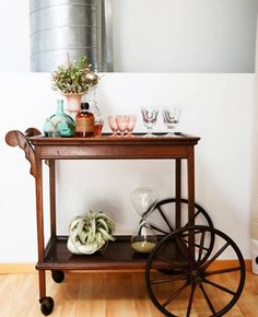 Dining Room , Dining Room Serving Cart With Wheels : Wooden Serving Cart With Wheels