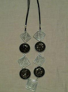 nespressart bijoux: collana e orecchini con rombi di alluminio e ciald...