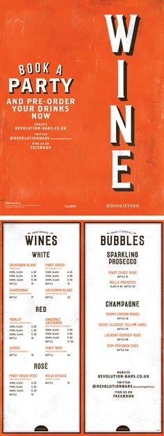 Wine Bar Menu, Graphic Design, Typography, Cool Design by www.diagramdesign.co.uk