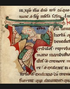 Initiales historiées, le T de terra Recueil de textes religieux, XIe-XIIe siècle, manuscrit latin H138, folio 57, vélin, in-folio.