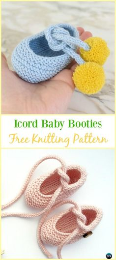 Knit Icord Baby Booties Free Pattern - Knit Slippers Booties Free #Knitting Patterns