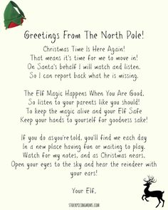 Grab this free printable letter from santa pinterest santa elf on a shelf welcome letter free printable to use when your elf on spiritdancerdesigns