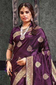 Beautiful Saree, Beautiful Dresses, Silk Sarees With Price, Freezing Cold, Indian Heritage, Eggplant Purple, Wedding Sutra, Banarasi Sarees, Varanasi