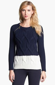 MICHAEL Michael Kors Zip Shoulder Colorblock Cable Sweater available at #Nordstrom