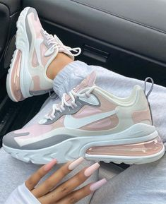 blush pink coffin nails, ombre pink nails, white sneakers, white nike air force one, nike air force one Cute Nike Shoes, Cute Sneakers, Nike Air Shoes, Shoes Sneakers, Outfit With Nike Shoes, Nike Air Jordans, Girls Sneakers, Adidas Shoes, Jordan Shoes Girls