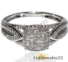 Ladies Round Cut Diamond 925 Silver Engagement Wedding Ring In White Gold Over #giftjewelry22 #EngagementHaloRing