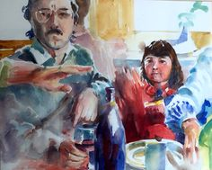 Brian Baxter: Friday Night at the Dohertys Friday, Portraits, Watercolor, Night, Artist, People, Painting, Pen And Wash, Watercolor Painting