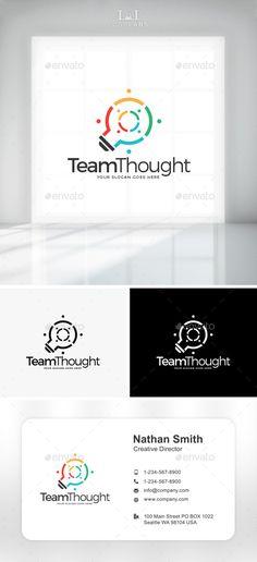 Team Thought Logo: Symbol Logo Design Template created by LogoLabs. Logo Design Template, Logo Templates, Business Logo, Business Card Design, Business Company, Teamwork Logo, Lamp Logo, Logo Simple, Visual Identity
