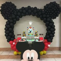 Cake - Mickey table - Mickey balloon arch - - Regrann from - Loving this incredible Mickey Mouse themed cake table display for little Joshua's first birthday celebration! Mickey Mouse Birthday Decorations, Theme Mickey, Mickey Mouse Balloons, Fiesta Mickey Mouse, Mickey Mouse Clubhouse Birthday Party, Mickey Mouse Parties, Mickey Mouse Table, Mickey Mouse Pinata, Disney Parties