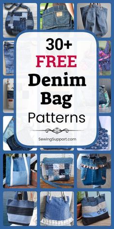 free denim bag & purse patterns, tutorials, and diy sewing projects, mostly from old jeans. Denim Bag Patterns, Bag Patterns To Sew, Denim Tote Bags, Diy Tote Bag, Denim Bags From Jeans, Diy Bags, Blue Jean Purses, Bag Sewing, Diy Sewing Projects