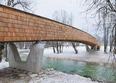 Wooden footbridge by DANS architects