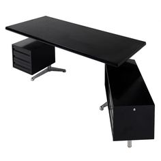 1stdibs | Osvaldo Borsani Executive Desk For Tecno Italy - Steel Frame And Black Finish