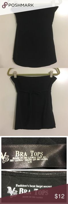 Strapless bra top with tie in back🎈FLASHSALE🎈 Black Strapless bra top with tie in back - inside of rim around top is rubber strip to help keep in place- used a gold scarf on black mannequin so you could see the black top😊 Victoria's Secret Tops Tees - Short Sleeve