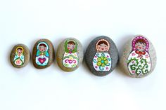 Painted Rocks and Stones / Matryoshka Russian Dolls Painted Stones by Thrive360Living on Etsy https://www.etsy.com/listing/200211487/painted-rocks-and-stones-matryoshka