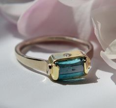 Deeper Than the Sea Blue Maine Tourmaline Ring  in 14kt Gold with Shimmering Diamonds