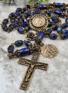 Lapis Lazuli, Mary 1, Our Lady Of Lourdes, Rosary Bracelet, Blue Tigers Eye, Bronze, Rosary Catholic, Rosaries, Red Garnet
