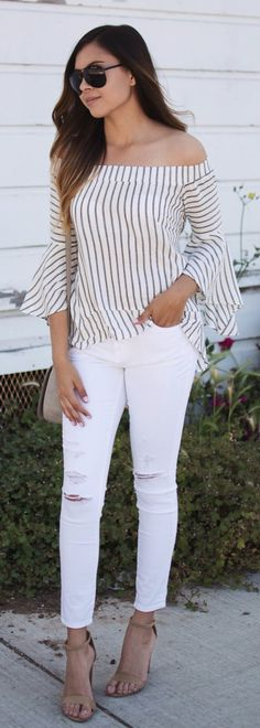 #summer #outfits Bell Sleeves + Stripes