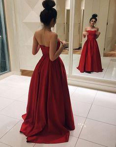simple strapless red a-line/princess satin junior prom dress