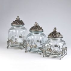 Glass Bird Canister, Set of 3