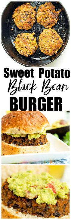 This Sweet Potato Black Bean Burger recipe is vegan, gluten-free, and bursting w. This Sweet Potato Black Bean Burger recipe is vegan, gluten-free, and bursting with flavor! One of the BEST veggie burger recipes I& ever made! Best Veggie Burger, Vegan Burgers, Sweet Potato Veggie Burger, Beef Burgers, Sweet Potato Meals, Sweet Potato Pasta, Sweet Potato Dinner, Vegan Foods, Vegan Dishes