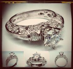 Vintage Three Stone Diamond Filigree Engagement Ring