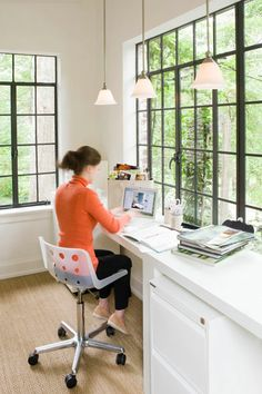 work space   black iron windows-Don't know how much work would get done. I'd always be looking out the windows!