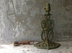 Vintage Porch Lamp / Cast Iron / Green and Gold by assemblage333