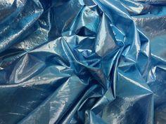 Turquoise Shot Silver Pearl Lam� Creased Metallic Paper Lame Fabric Per Metre