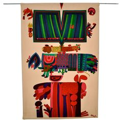 Sweden Stig Lindberg Wall hanging of multicolor silkscreen printed on cotton velvet early 1960s