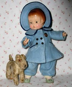 1929 Effanbee PATSY Doll -- Patent Pending * with rare Mollye's Wardrobe including this outstanding blue fleece outfit!