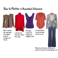 How to Flatter a Protruding Stomach. Pants/Skirts/Waistbands should sit about at the belly button. Too high and it will force your stomach to pop out below, too low and you get muffin top.