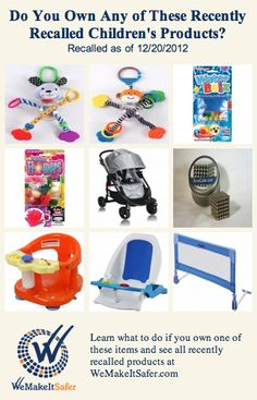 Recently recalled children's products, including strollers, bath seats, puppy & monkey toys & more. See the rest at WeMakeItSafer.com