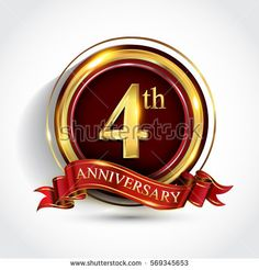 4th golden anniversary logo, four years birthday celebration with ring and red ribbon isolated on white background