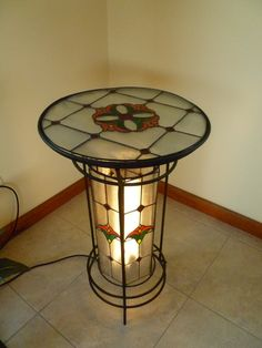 Stained glass lamp and table