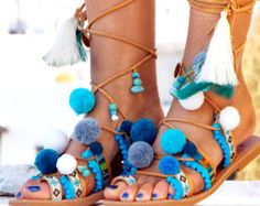 Hippieland Tie Up Gladiator Sandals, Greek Leather Sandals, Boho sandals, Pom Pom sandals Greek Sandals, free shipping DHL 1-4 days