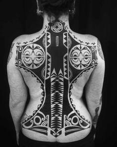 Full Back Maori Tattoo by Igor Kampman