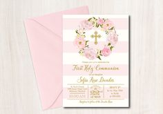 First Communion Invitation Baptism printable  DIY Floral