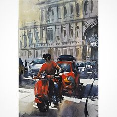 Red and Grey #rome #italy #sketch #watercolor #watercolour #art #architecture #vespa #fiat #urban #thomaswschaller