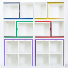Orla Reynolds Design It looks like a modern bookcase...but the colored accent trim turns out to be a table and four chairs that can be pulled out! Brilliant!