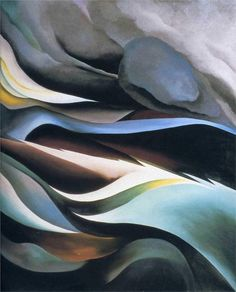 From the Lake, 1924 by Georgia O'Keeffe. Here Georgia O'Keeffe pushes the landscape into abstraction, celebrating the rhythms and colors of the stormy Lake George country in a design that grows simultaneously from her more representational views and from her abstractions.