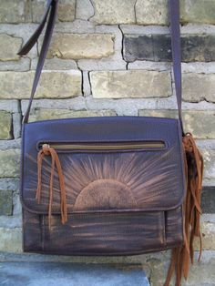 Sun Rise One of a Kind Leather Purse with fringe & by LuckyHArt, $29.00