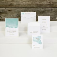 Daydream wedding suite with a serene turquoise blue island water brushstroke design, gold script, with many color variations to choose from Bar Mitzvah Invitations, Luxury Wedding Invitations, Watercolor Wedding, Wedding Suits, Accent Colors, Daydream, Envelope, Custom Design, Place Card Holders