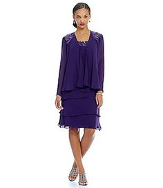 S.L. Fashions Sequin-Detail Chiffon Jacket Dress