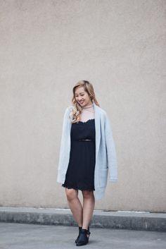 Winter Layerings | Turtleneck + Slip Dress + Oversize Cardigan - JANET GWEN