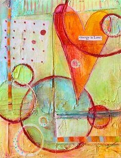 Abstract Heart Circles & Polka Dot Fine Art Print by LauraGaffke, $25.00
