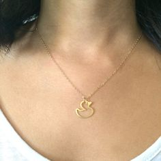 Toy Duck Necklace Gold Filled Necklace Yellow Duck by BeepStudio