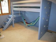 Ana White Camp Loft Bed with Rock Wall and Hammock - All About Decoration Bunk Beds Boys, Bunk Beds With Stairs, Loft Beds, Build A Murphy Bed, Loft Bed Plans, Ideas Habitaciones, Small Room Design, Loft Spaces, Loft Apartments