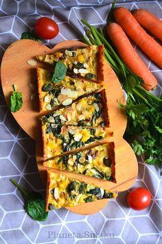 Wypróbuj przepis na pyszną i zdrową tartę na spodzie z marchewki.. Vegetable Pizza, Food Inspiration, Vegetarian Recipes, Lunch, Dinner, Vegetables, Pies, Dining, Lunches